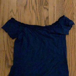 blue off the shoulder lettuce edge crop top